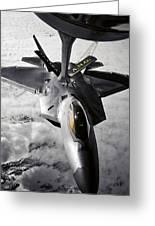 A Kc-135 Stratotanker Refuels A F-22 Greeting Card