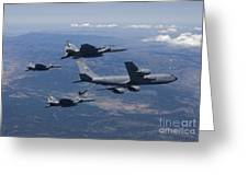 A Kc-135r Stratotanker Refuels Three Greeting Card by HIGH-G Productions