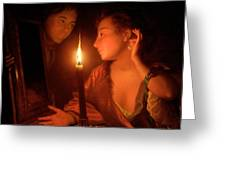 A Lady Admiring An Earring By Candlelight Greeting Card