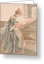 A Lady Copying At A Drawing Table Greeting Card