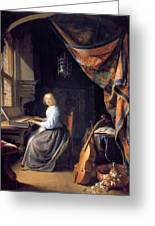 A Lady Playing The Clavichord Greeting Card