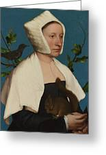 A Lady With A Squirrel And A Starling Anne Lovell Greeting Card