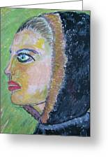 A Lady's Profile In The Navy Hood Greeting Card