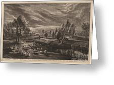 A Landscape With A Village Greeting Card