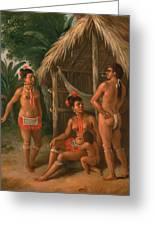 A Leeward Islands Carib Family Outside A Hut Greeting Card