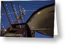 A Lifeboat Named Maria Boston Tall Ships 2017 Lighted Mast Boston Ma Greeting Card