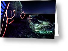 A Light Painted Scene Of A Rusty Caddy By A Barn And Cornfield Greeting Card