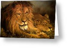 A Lion And A Lioness Greeting Card