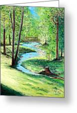 A Little Brook With A Bridge Greeting Card