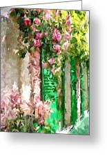 A Little Cozy Street With Roses Greeting Card