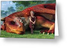 A Little Girl And Her Dragon Greeting Card