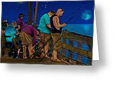 A Little Night Fishing At The Rodanthe Pier 2 Greeting Card by Anne Kitzman