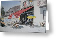 A L'ombre D'une  Terrasse D'un  Cafe  Shadow Of An Outdoor Pub Greeting Card