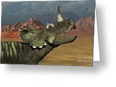 A Lone Centrosaurus Dinosaur Calling Greeting Card