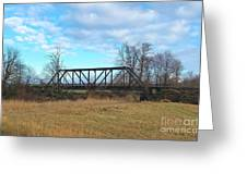 A Lonesome Railroad Bridge In Winter   Greeting Card