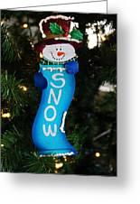 A Long Snow Ornament- Vertical Greeting Card