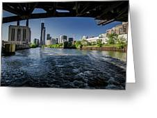 A Look At The Chicago Skyline From Under The Roosevelt Road Bridge  Greeting Card