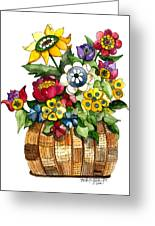 A Lovely Basket Of Flowers Greeting Card