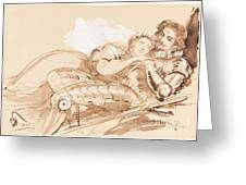 A Maiden Embraced By A Knight In Armor Greeting Card