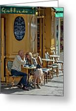 A Man A Woman A French Cafe Greeting Card by Allen Sheffield