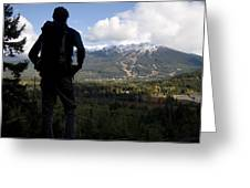A Man Admires The View Over The Valley Greeting Card