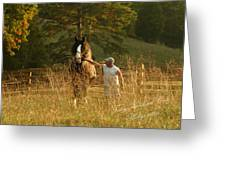 A Man And His Horse Greeting Card by Terry Kirkland Cook