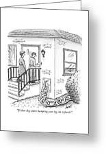 A Man And Woman Ring The Bell Of A House Greeting Card