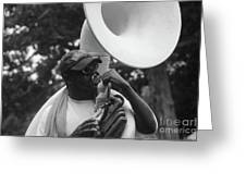 A Man Blows His Horn Greeting Card