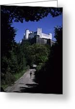 A Man Walks Toward The Salzburg Castle Greeting Card by Taylor S. Kennedy
