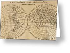 A Map Of The World With The Voyage Of Robinson Crusoe Greeting Card