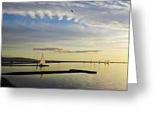A Marine Lake At Dusk, West Kirby Greeting Card