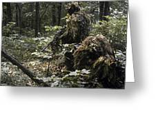 A Marine Sniper Team Wearing Camouflage Greeting Card