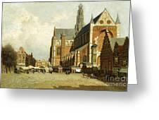 A Market By The St. Bavo Church Greeting Card