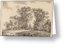 A Meadow With Cattle At The Edge Of A Wood Greeting Card