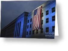 A Memorial Flag Is Illuminated On The Greeting Card