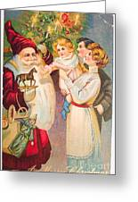 A Merry Christmas Vintage Card Santa And A Family Greeting Card