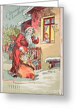 A Merry Christmas Vintage Greetings From Santa Claus And His Gifts Greeting Card