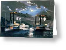 A Midnight Race On The Mississippi Greeting Card