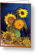 A Modern Look At Vincent's Vase With 5 Sunflowers Greeting Card