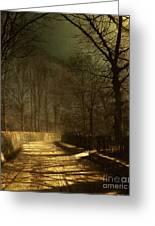 A Moonlit Lane Greeting Card