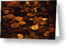 A Mound Of Pennies Greeting Card