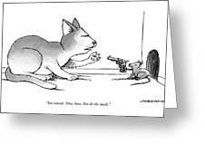 A Mouse Is In Front Of A Mouse Hole Pointing Greeting Card
