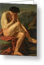 A Naked Man Sitting In A Landscape Greeting Card