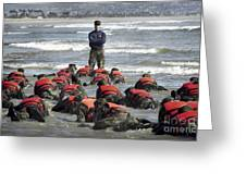A Navy Seal Instructor Assists Students Greeting Card