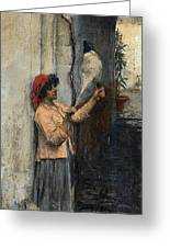 A Neapolitan Flax Spinner John William Waterhouse Greeting Card