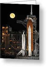 A Nearly Full Moon Sets As Space Greeting Card by Stocktrek Images