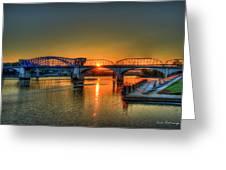 A New Day Chattanooga Sunrise Market Street Bridge Greeting Card