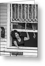 A New Orleans Greeting Bw Greeting Card