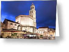 A Night View Of The Cathedral Of Saint Domnius In Split Greeting Card