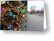 A Padlock Filled Bridge In Paris Greeting Card